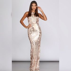 Amelie Sequin Mesh Formal Dress